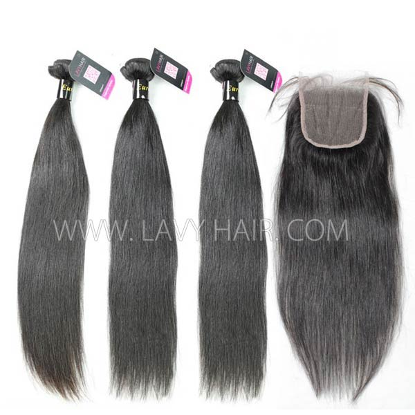 Superior Grade mix 4 bundles with lace closure European Straight Virgin Human Hair Extensions