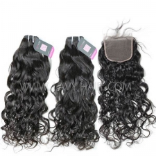 Superior Grade mix 4 bundles with lace closure Mongolian Natural Wave Virgin Human Hair Extensions