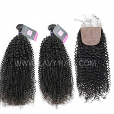 "Superior Grade mix 3 bundles with silk base closure 4*4"" Mongolian Kinky Curly Virgin Human hair extensions"