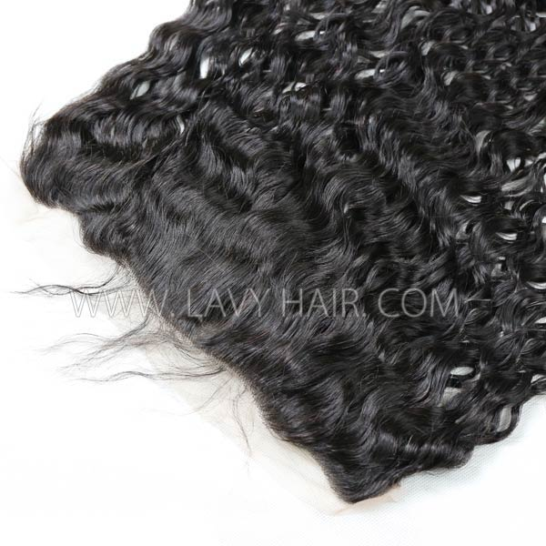 #1B Color Ear to ear 13*4 Lace Frontal Natural Wave Human hair Swiss lace