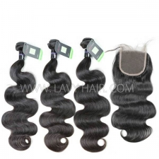 Regular Grade mix 3 bundles with lace closure Mongolian Body Wave Virgin Human hair extensions