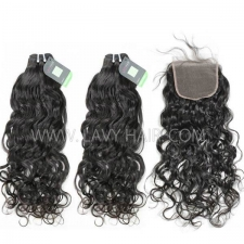 Regular Grade mix 4 bundles with lace closure Mongolian Natural Wave Virgin Human hair extensions