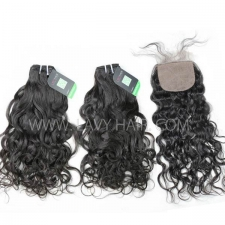 "Regular Grade mix 4 bundles with silk base closure 4*4"" European Natural Wave Virgin Human hair extensions"