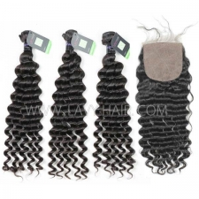 "Regular Grade mix 4 bundles with silk base closure 4*4"" Mongolian Deep wave Virgin Human hair extensions"