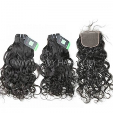 Regular Grade mix 4 bundles with lace closure European Natural Wave Virgin Human hair extensions