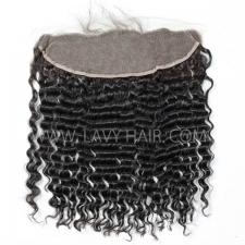 Ear to ear 13*4 Lace Frontal Closure Deep Wave Human hair medium brown Swiss lace
