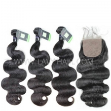 "Regular Grade mix 4 bundles with silk base closure 4*4"" Mongolian Body Wave Virgin Human hair extensions"