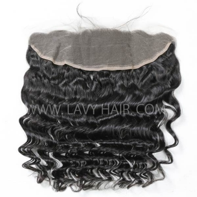 #1B Color Ear to ear 13*4 Lace Frontal Loose Wave Human hair Swiss lace