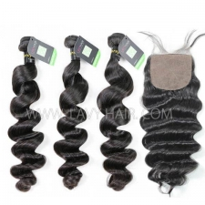 "Regular Grade mix 4 bundles with silk base closure 4*4"" European loose wave Virgin Human hair extensions"