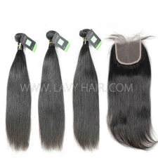 Regular Grade mix 4 bundles with lace closure European Straight Virgin Human hair extensions