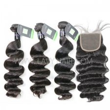Regular Grade mix 3 bundles with lace closure Mongolian Loose Wave Virgin Human hair extensions