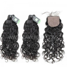 "Regular Grade mix 4 bundles with silk base closure 4*4"" Mongolian Natural Wave Virgin Human hair extensions"