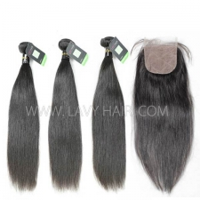 "Regular Grade mix 4 bundles with silk base closure 4*4"" European Straight Virgin Human hair extensions"