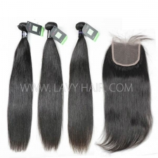 Regular Grade mix 3 bundles with lace closure Mongolian Straight Virgin Human hair extensions