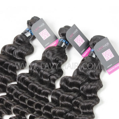 Superior Grade 1 Bundle Peruvian Deep Wave Virgin Human Hair Extensions