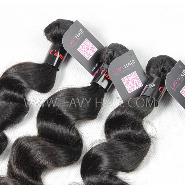 Superior Grade mix 3 bundles with lace closure Cambodian loose wave Virgin Human hair extensions