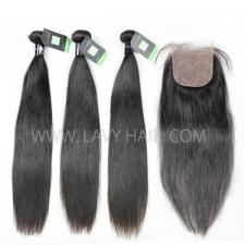 "Regular Grade mix 4 bundles with silk base closure 4*4"" Mongolian Straight Virgin Human hair extensions"