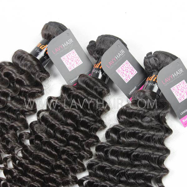 Superior Grade mix 4 bundles with lace closure Indian Deep Curly Virgin Human hair extensions