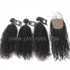 "Superior Grade mix 3 bundles with silk base closure 4*4"" Brazilian Kinky Curly Virgin Human hair extensions"