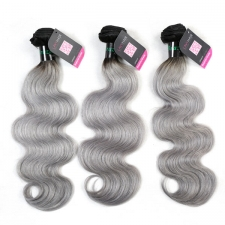 Superior Grade mix 3 or 4 bundles Brazilian body wave Ombre Silver Gray Human hair extensions