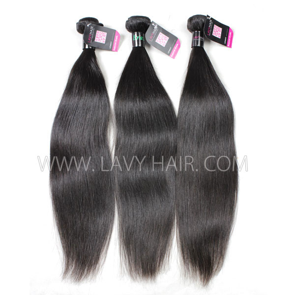 Superior Grade 3/4 bundles Straight Virgin Human Hair Extensions Brazilian Peruvian Malaysian Indian European Cambodian Burmese Mongolian