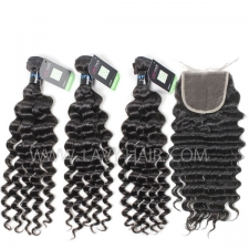 Regular Grade mix 3 bundles with lace closure Peruvian Deep wave Virgin Human hair extensions