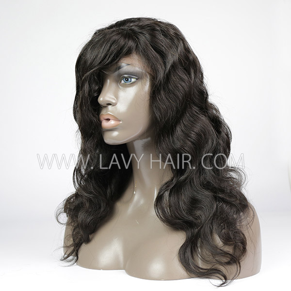 Lace Frontal Wigs With Bangs 130% Density Body Wave Human Hair