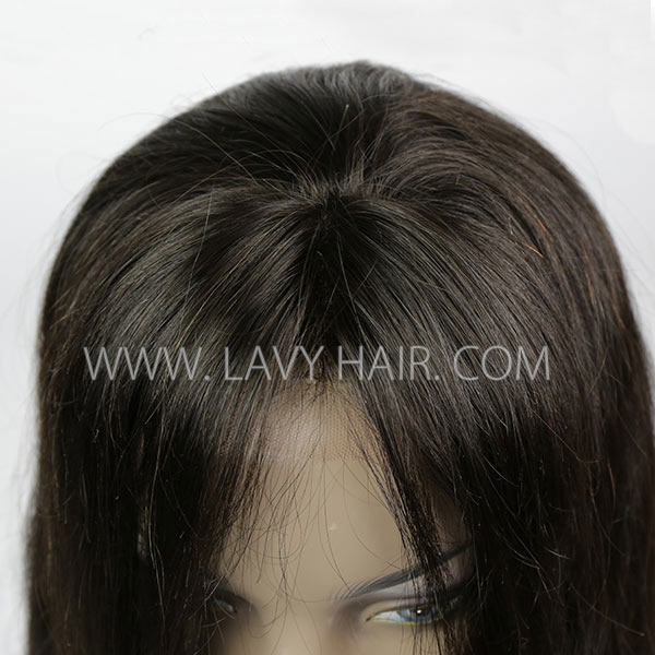 Lace Frontal Wigs With Bangs 130% Density Straight Hair Human Hair