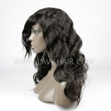 #1B 100% Human hair lace front wigs with bangs 130% density body wave