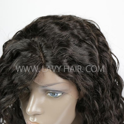 Lace Frontal Wigs With Bangs 130% Density Loose Wave Human Hair