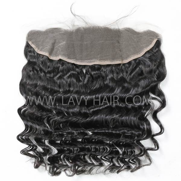 Regular Grade mix 3 bundles with 13*4 lace frontal closure Mongolian Loose wave Virgin Human hair extensions
