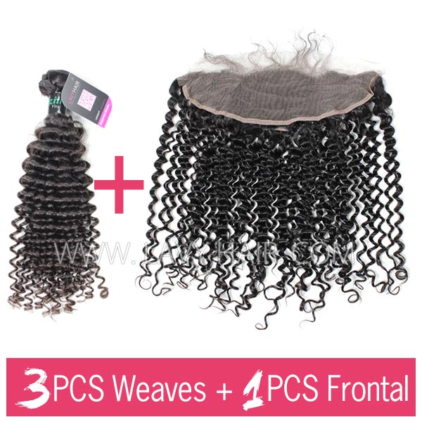 Superior Grade mix 3 bundles with 13*4 lace frontal closoure Brazilian Deep Curly Virgin Human Hair Extensions