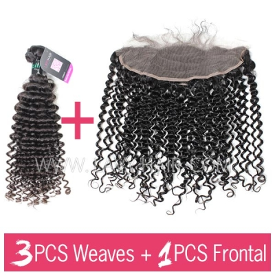 Superior Grade 3 bundles with 13*4 lace frontal Deep Curly Virgin Human Hair Brazilian Peruvian Malaysian Indian European Cambodian Burmese Mongolian
