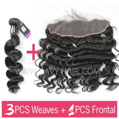 Superior Grade 3 bundles with 13*4 lace frontal loose wave Virgin hair Brazilian Peruvian Malaysian Indian European Cambodian Burmese Mongolian