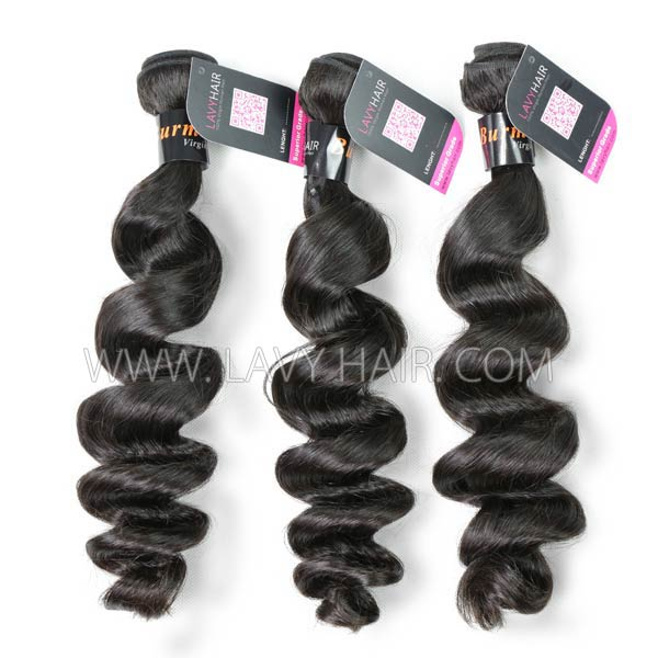 Superior Grade mix 3 bundles with 13*4 lace frontal closoure Burmese loose wave Virgin Human hair extensions