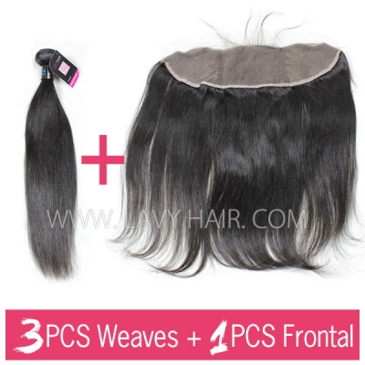 Superior Grade 3 bundles with 13*4 lace frontal closure Peruvian Straight Virgin Human Hair Extensions