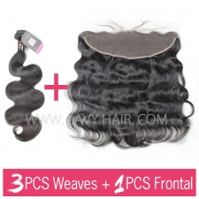 Superior Grade mix 3 bundles with 13*4 lace frontal closure Indian Body wave Virgin Human hair extensions