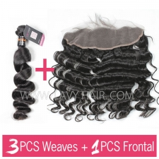Superior Grade mix 3 bundles with 13*4 lace frontal closure Indian loose wave Virgin Human hair extensions