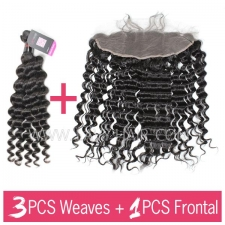 Superior Grade mix 3 bundles with 13*4 lace frontal closoure Cambodian Deep Wave Virgin Human Hair Extensions