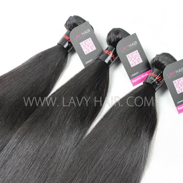 Superior Grade 3 bundles with 13*4 lace frontal closure Cambodian Straight Virgin Human Hair Extensions
