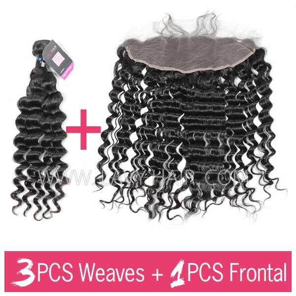 Peruvian Deep Wave Bundles With 13*4 Lace Frontal