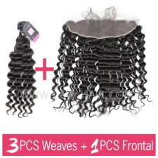 Superior Grade mix 3 bundles with 13*4 lace frontal closoure Peruvian Deep Wave Virgin Human Hair Extensions