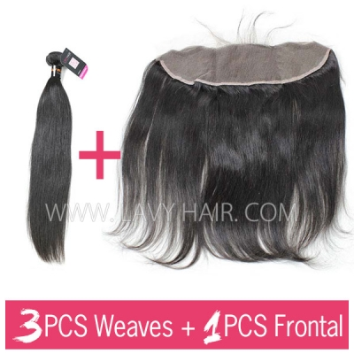 Superior Grade 3 bundles with 13*4 lace frontal closure Burmese Straight Virgin Human Hair Extensions