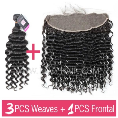 Superior Grade mix 3 bundles with 13*4 lace frontal closure Indian Deep Wave Virgin Human hair extensions