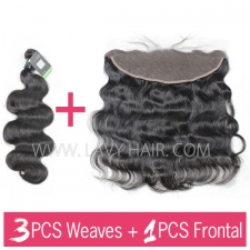 Regular Grade mix 3 bundles with 13*4 lace frontal closure Brazilian Body wave Virgin Human hair extensions