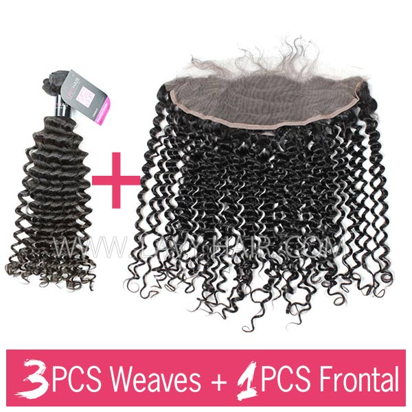 Superior Grade mix 3 bundles with 13*4 lace frontal closure Malaysian deep curly Virgin Human Hair Extensions