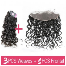Superior Grade 3 bundles with 13*4 lace frontal closure European Natural Wave Virgin Human Hair Extensions