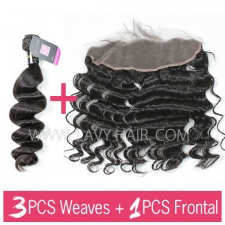 Superior Grade mix 3 bundles with 13*4 lace frontal closoure European loose wave Virgin Human hair extensions