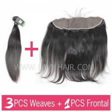 Regular Grade mix 3 bundles with 13*4 lace frontal closure Brazilian Straight Virgin Human hair extensions
