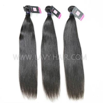 Superior Grade 3 bundles with 13*4 lace frontal closure Mongolian Straight Virgin Human Hair Extensions